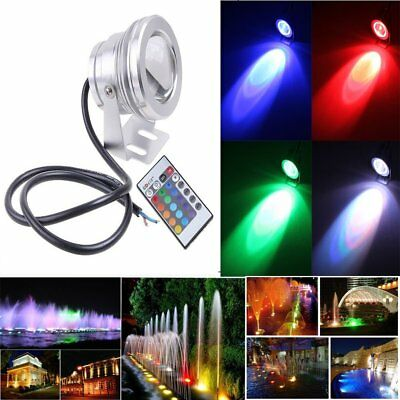 10W 12V RGB Underwater LED Spot Light Flood Light Colorful with Remote Control