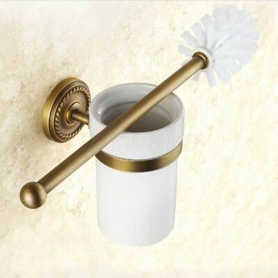 Antique Brass Wall Mount Bathroom Accessory Toilet Brush Holder Sets Ceramic Cup