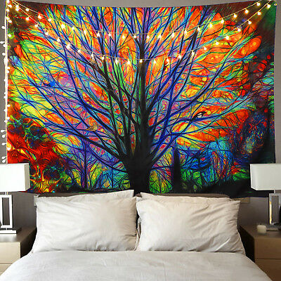 USA Colorful Tree Print Tapestry Wall Hanging Art Tree Tapestry Bedroom Decor