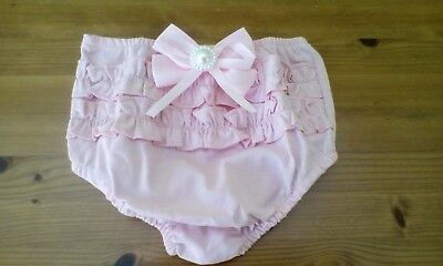 baby  pink frilly pants/knickers with pink bow size 3-6 months new;;
