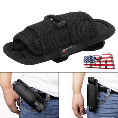 Nylon Flashlight Pouch Holster Belt Carry Case Holder With 360 Degrees Rotat USA