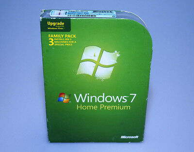 Microsoft Windows 7 Home Premium Family Pacck Upgrade retail genuine 32 BIT ONLY