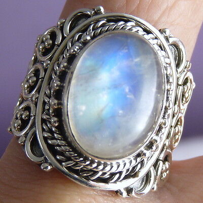FILIGREE LACE Vintage Silversari Ring Size US 8.5 Solid 925 Silver + MOONSTONE