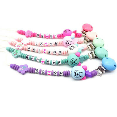 Baby infant wooden beaded pacifier holder clip nipple teether dummy chain giftF8