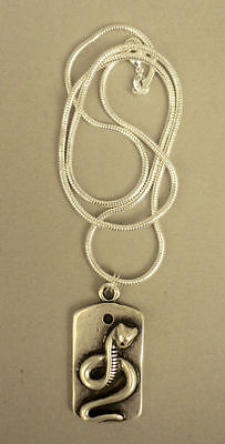 Uraeus Egyptian Royal Snake Pendant on Chain in Silver on Fine Pewter