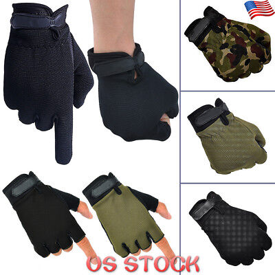 Mens Womens Military Riding Stretch Outdoor Sports Half / Full Finger Gloves USA