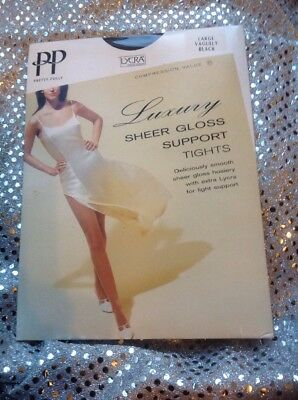 Pretty Polly Luxury Sheer Gloss Support Tights Large / Colour - Vaguely Black