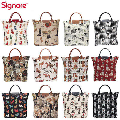 Foldable Shopping Bag Reusable Grocery Tote In Pet Animal Designs