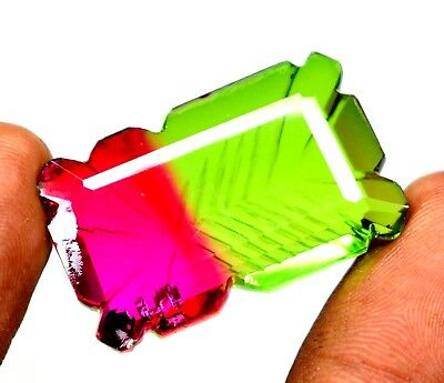 Ggl Certified 63.85  Ct Superb Carved Emerald Cut Multi Color Tourmaline Gems