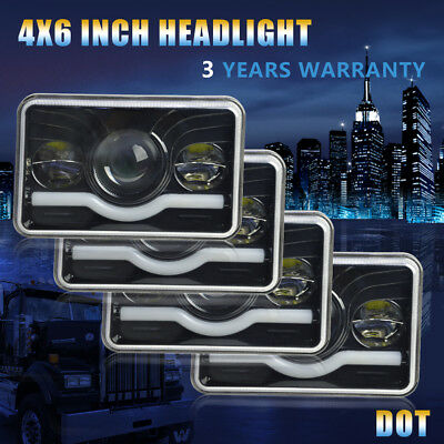 "4x6"" LED Headlight DRL for Kenworth T400 T600 W900B Classic 120/132 W900L Ford"