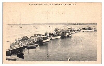 Champlins Yacht Dock, New Harbor, Block Island, RI Postcard
