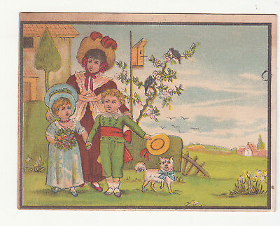Great Atlantic Pacific Tea Co NY Family in the Grass Dog Farm Vict Card c1880s