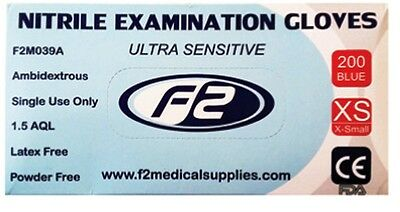 200 F2 Medical Disposable Nitrile Examination Gloves X-Small. Vets