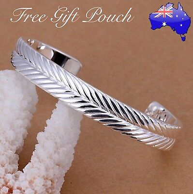 Stunning 925 Sterling Silver Filled Angel Feather Bracelet Cuff Open Bangle Gift
