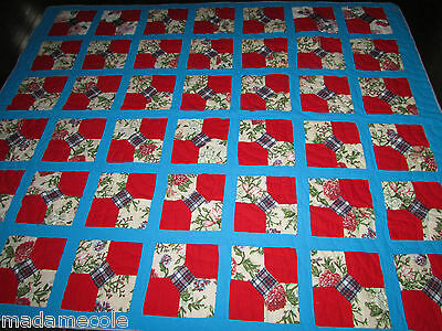 "Antique Hand Made Red And Blue  Cotton Quilt   70"" X 59"" Signed  Rc"