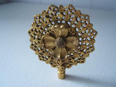 """Vintage Large Brass Flower Filigree Ornate Lace Finial 2 3/8"""" Wide Not Threaded"""