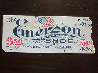 Antique Emerson Shoes Ink Blotter Cincinnati, OH Store Fair Condition Great Disp
