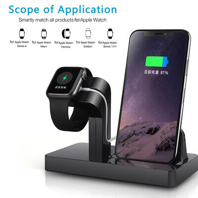 2in1 Charger Dock Stand Bracket For Apple iWatch 1/2/3/4 iPhone 8Plus X XR XSMax
