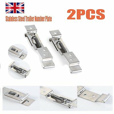Trailer Number Plate Clips Holder Spring Loaded Stainless Steel one pair ew