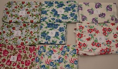 Vtg Quilt Doll Floral Cotton Fabric Feedsack(?) LOT of 8 Fabric Pieces