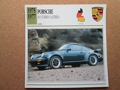 Porsche 911 Turbo 3 litres, 1975-1977,  Atlas photo & spec card. FREE shipping.