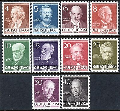 Berlin 1952 Famous Berliners set of 10 Mint Unhinged
