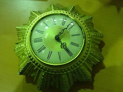 Smiths Small Starburst Wall Clock  8 Day With Floating Balance Requires Repair