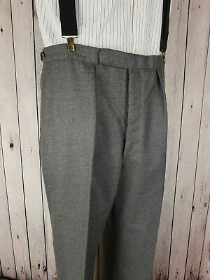 Vintage Pleated Grey 1960s Cuffed Wool Button Fly Trousers W38 L33 HK01