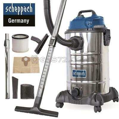 230V Wet And Dry Vacuum Cleaner Stainless Steel 30L 1400W Scheppach Asp30-0Es