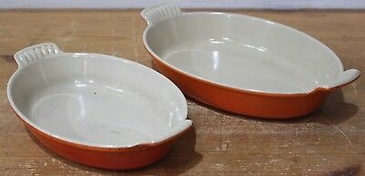 Set of LE CREUSET Cast Iron Gratin Pie Dish VOLCANIC Orange 20CM & 24CM - 250