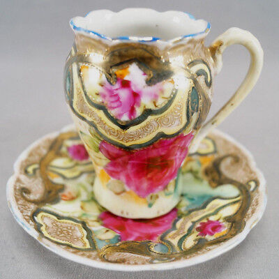 IE & Co Nippon Dark Pink Rose Green Yellow Pink & Moriage Chocolate Cup & Saucer