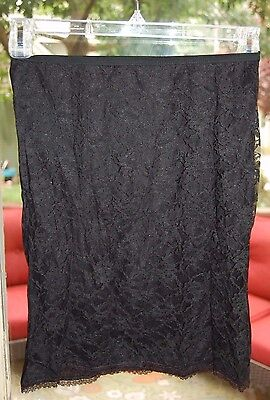 SEXY Vtg PLYMOUTH UNDIES black lace front 1/2 SLIP LINGERIE sz SMALL
