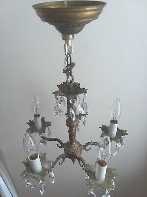 Antique Chandelier, brass with 30 large and 30 small crystals, rewired