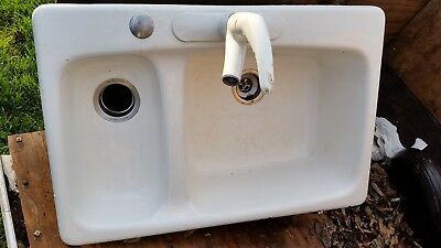 33 INCH* CAST Iron kitchen sink* drop in double basin for ...
