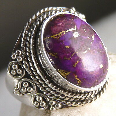 Gemstone STATEMENT Ring Size US 7 SILVERSARI Solid 925 Silver/COPPER TURQUOISE