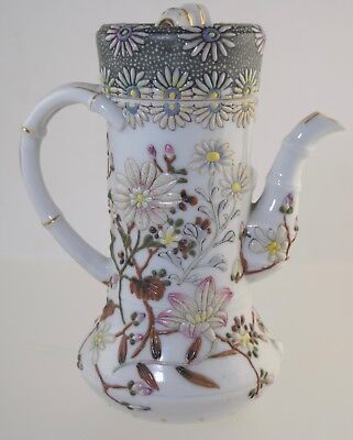 Japanese Moriage Porcelain Teapot Coffee/chocolate Pot Antique Enamel Kutani