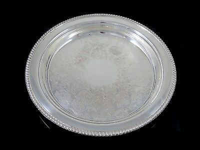 """Vintage Large 13"""" SHEFFIELD REPRODUCTIO Silverplate ROUND SERVING TRAY Gadroon"""