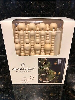 NEW Hearth & Hand with Magnolia 12 Ft Wooden Beads Christmas Tree Garland NIB