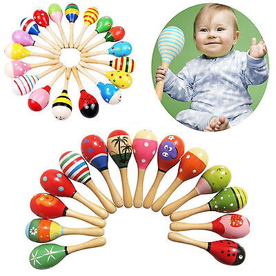 Best 2pc Wooden Wood Maraca Rattles Shaker Percussion Kid Baby Musical Toy Favor
