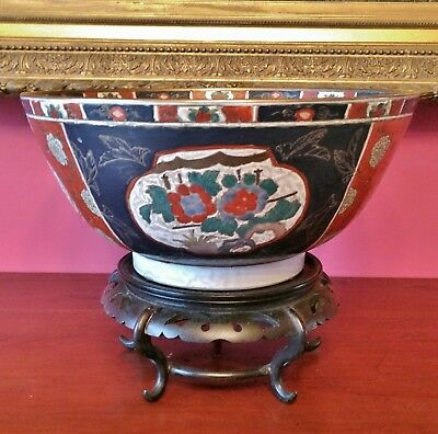 large vintage chinese imari punch bowl wood stand cachepot planter high quality