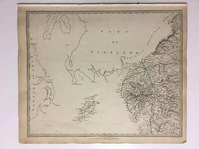 Vintage Original 1845 Topographic Map Of 'England-North-West' Isle Of Man