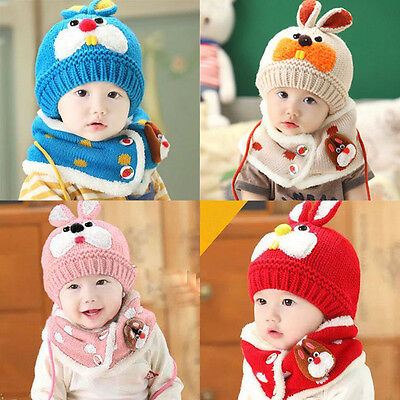 Baby Boy Girl Child Kids Winter Warm Knit Bobble Hat Beanie Cap+Snood Scarf CC