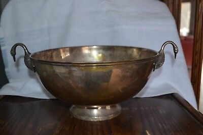 Large VTG Silver Plate  Bowl with Swan Figurine Handles