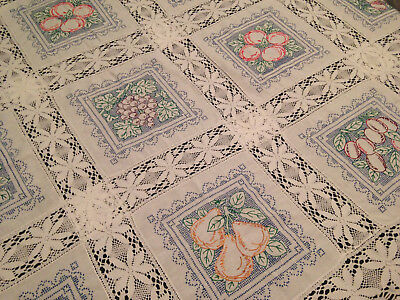 Vintage Hand Embroidered And Crochet White Linen Tablecloth ~ Stunning