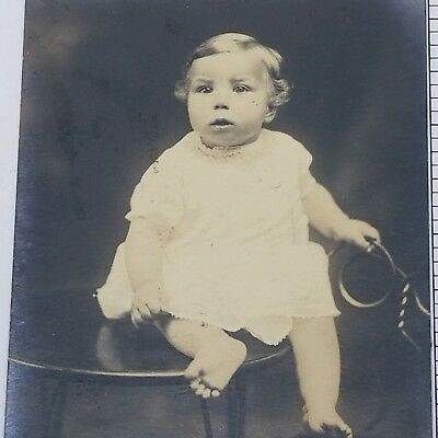 Vintage Photograph 1900s Baby Portrait Sitting on Table