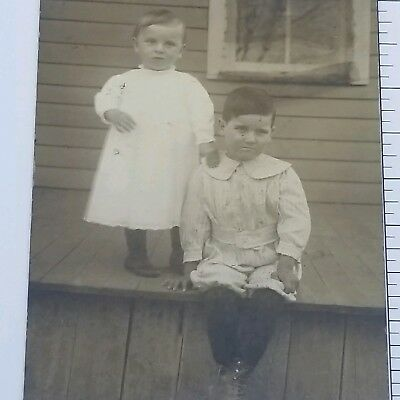 Vintage Photograph 1900s Two Children Sitting on Farm House Porch