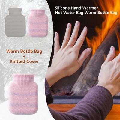Flexible Silicone Hand Warmer Hot Water Bag Warm Bottle Bag+Knitted Cover