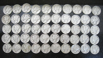 Lot of 50 Coins 1940's Various Dates Circulated Mercury Dimes - 90% Silver