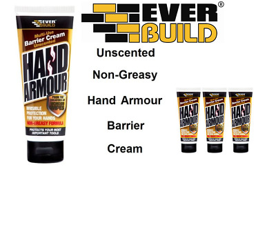 3 TUBES Everbuild Hand Armour NonGreasy Barrier Cream Unscented Skin Protection