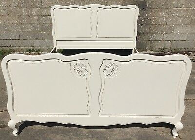 Antique Painted Louis Style French Double Bed - Shabby Chic